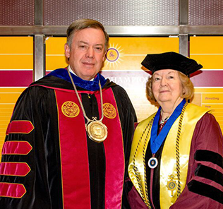 Kathryn Vennie and President Michael Crow